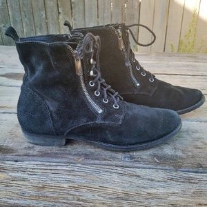 Suede Sam Edelman Boot Zipper Lace Up Grunge Style